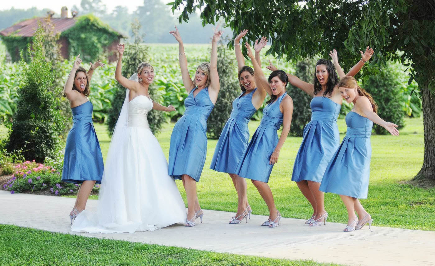 Bridal party photography, Brides with bridesmaids, Greenville, NC wedding